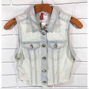 H&M Divided Denim Jacket Vest Causal Distressed